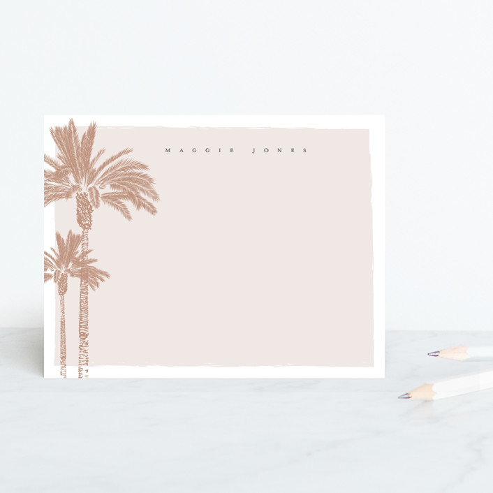 """""""Two Palms"""" - Whimsical & Funny Personalized Stationery in Desert by Owl and Toad."""