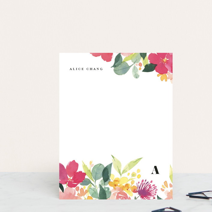 """""""Summer Blossoms"""" - Personalized Stationery in Magenta by Four Wet Feet Studio."""