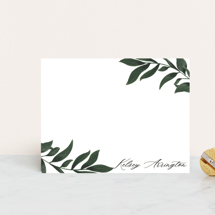"""Greenery Corner"" - Personalized Stationery in Leaf by Ella Weaver."