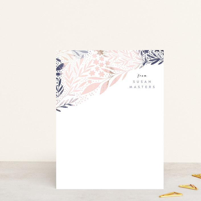 """""""Scattered Florals"""" - Whimsical & Funny Personalized Stationery in Sky by Alethea and Ruth."""