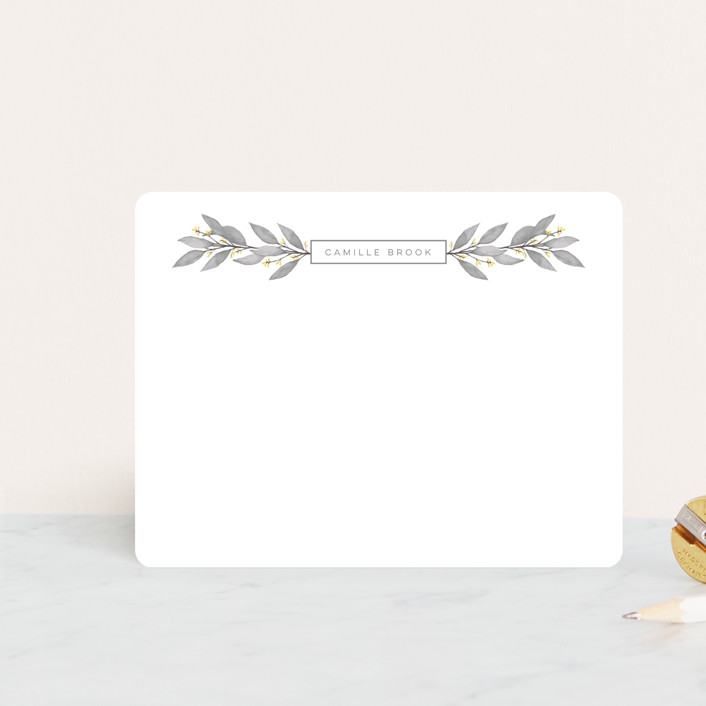 """""""Flora"""" - Personalized Stationery in Fog by April Astudillo."""