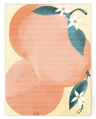 Orange and Blossom Note Personalized Stationery