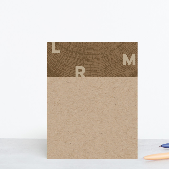"""Ringed Monogram"" - Rustic Personalized Stationery in Bark by Laura Bolter."