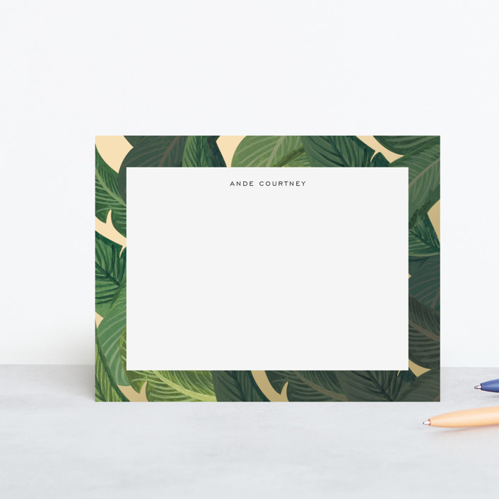 """Beverly Hills Palms"" - Personalized Stationery in Marigold by Olive and Jude."