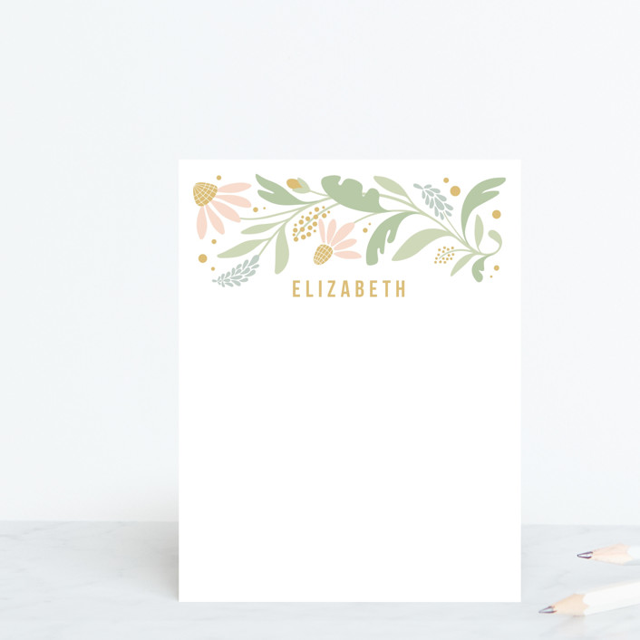 """Floral Trim"" - Whimsical & Funny Personalized Stationery in Pastel by Kristen Smith."