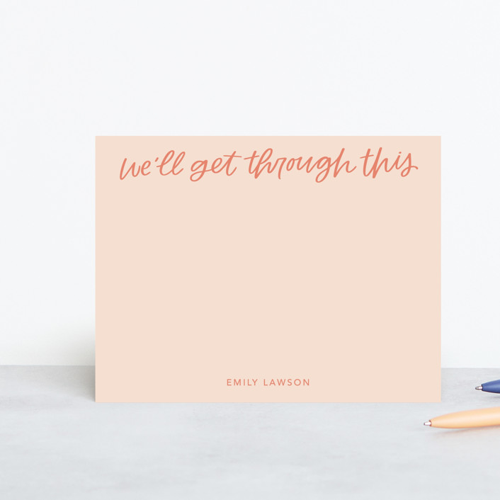 """We'll Get Through"" - Personalized Stationery in Peach by kbecca."