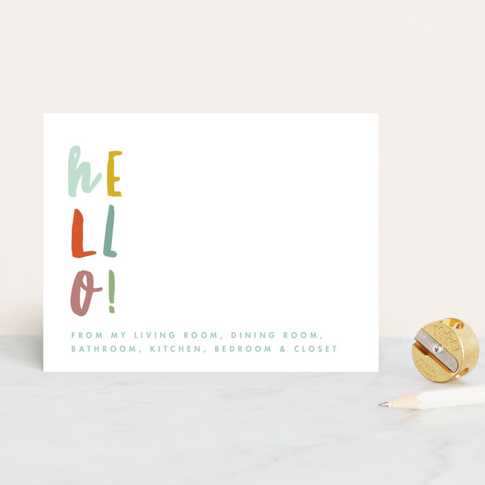"""""""Weird Hello"""" - Personalized Stationery in Spring by Keen Peachy."""