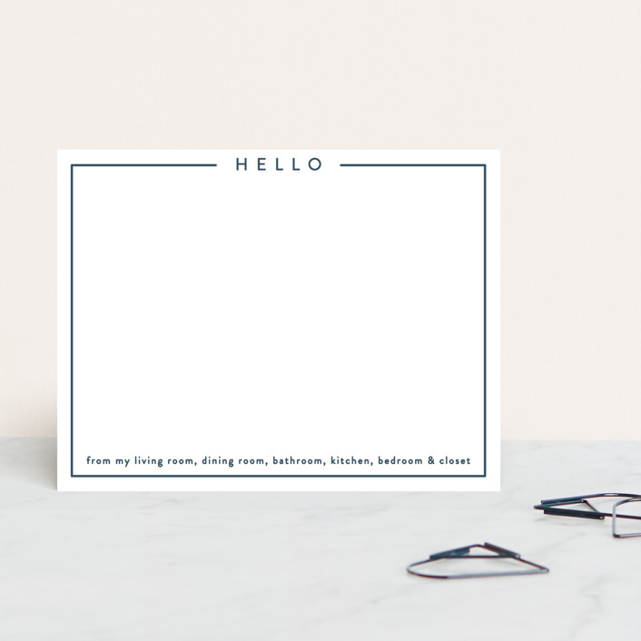 """""""Hello"""" - Personalized Stationery in Navy by Erin L. Wilson."""