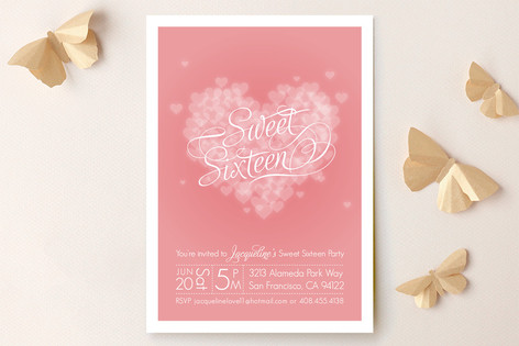 Pink Heart Sweet Sixteen Party Invitations