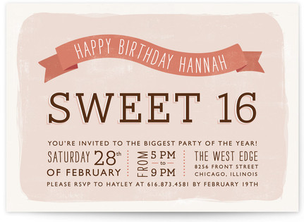 Sweet Type Sweet Sixteen Party Invitations