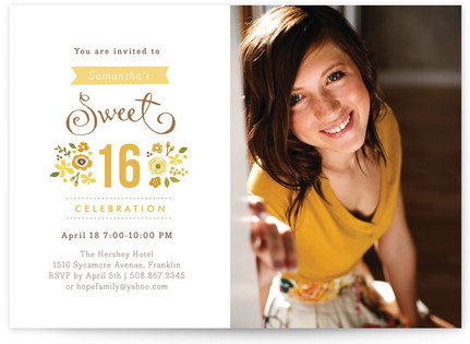 Sweet Cinquefoil Sweet Sixteen Party Invitations