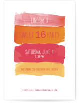 This is a pink sweet sixteen birthday party invitation by Shari Margolin called Watercolor Strokes with standard printing on signature in standard.