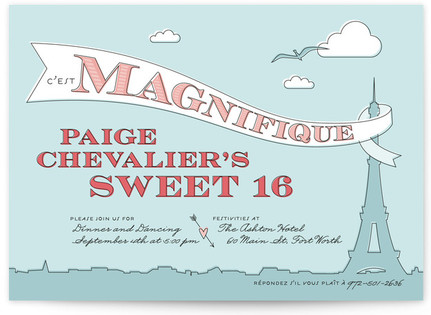C'est Magnifique Sweet Sixteen Party Invitations