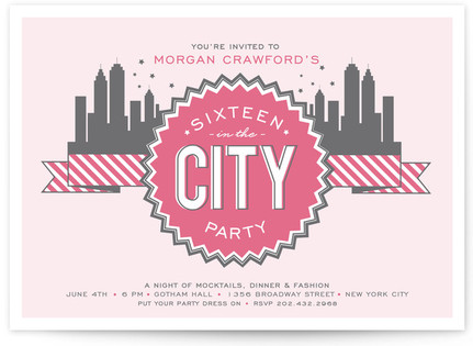 16 in the City Sweet Sixteen Party Invitations