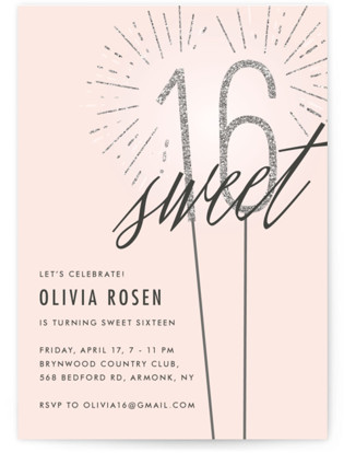Sixteen Sparklers Sweet Sixteen Party Invitations