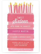 This is a pink sweet sixteen birthday party invitation by Karidy Walker called Birthday Bash Cake with standard printing on signature in standard.