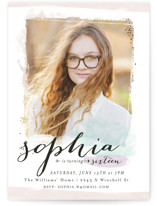 This is a purple sweet sixteen birthday party invitation by Melissa Egan of Pistols called Effervescence with standard printing on signature in standard.