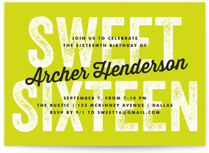Graffiti Sweet Sixteen Party Invitations