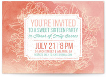 This is a pink sweet sixteen birthday party invitation by Paper Raven Co. called Watercolor Peonies with standard printing on signature in standard.