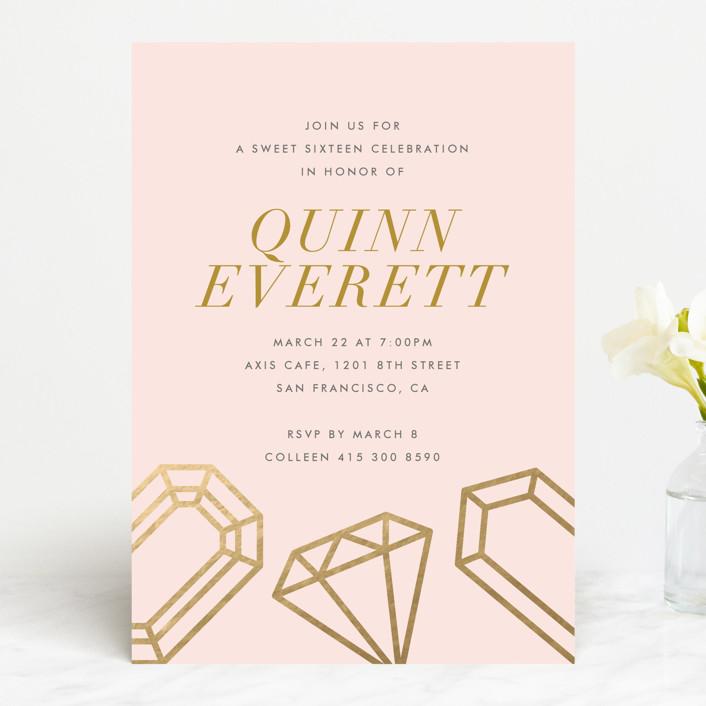 """Sixteen Karats"" - Sweet Sixteen Party Invitations in Light Rose by Monica Tuazon."