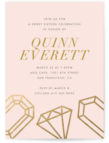 This is a pink sweet sixteen birthday party invitation by Monica Tuazon called Sixteen Karats with standard printing on signature in standard.