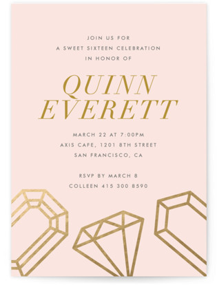 Sixteen Karats Sweet Sixteen Party Invitations