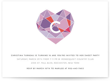 Faceted Sweet Sixteen Party Invitations
