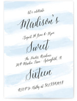 This is a blue sweet sixteen birthday party invitation by Sarah Brown called Sweet Stripes with standard printing on signature in standard.