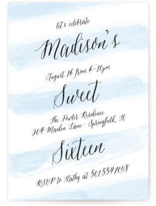 Sweet Stripes Sweet Sixteen Party Invitations
