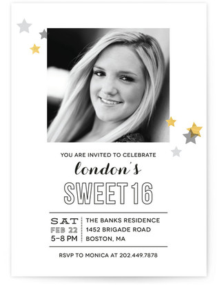 Starry Celebration Sweet Sixteen Party Invitations