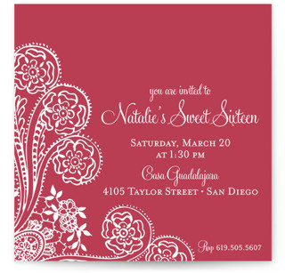Spanish Lace Sweet Sixteen Party Invitations