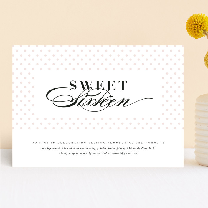 """""""Sweet Polka"""" - Preppy Sweet Sixteen Party Invitations in Classic by Creo Study."""