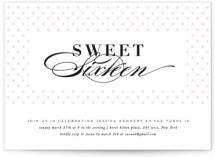 This is a pink sweet sixteen birthday party invitation by Creo Study called Sweet Polka with standard printing on signature in standard.
