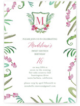 This is a green sweet sixteen birthday party invitation by Hallie Fischer called Tropical Crest with standard printing on signature in standard.