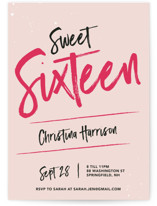 This is a pink sweet sixteen birthday party invitation by Christine Sullivan Houlihan called Sweet and Sassy Sixteen with standard printing on signature in standard.