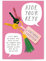 This is a pink sweet sixteen birthday party invitation by Baumbirdy called Keys with standard printing on signature in standard.