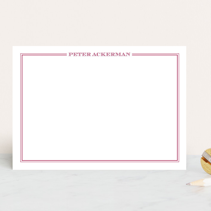 """""""the gentleman"""" - 5x7 Personalized Stationery in Fuchsia Rose by The Social Type."""