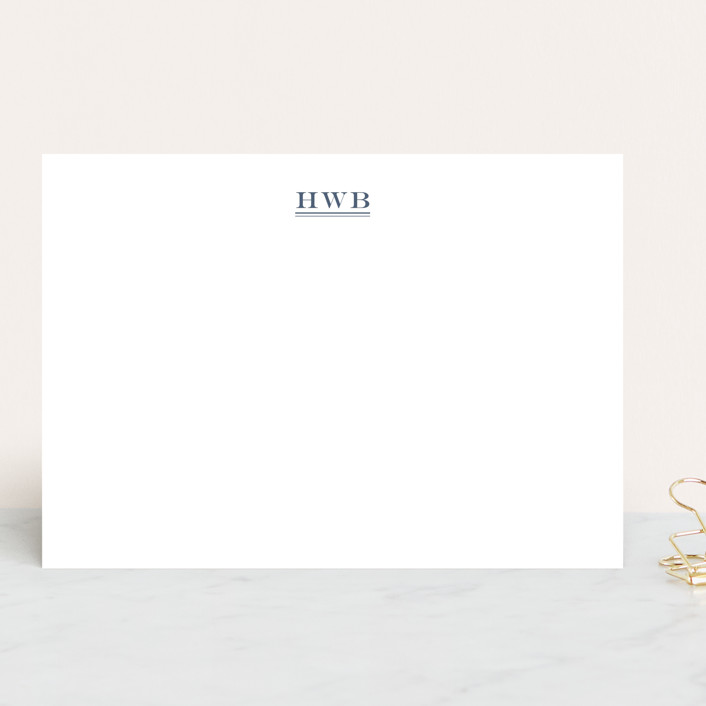 """""""Ascot"""" - 5x7 Personalized Stationery in Cadet Blue by Toast & Laurel."""