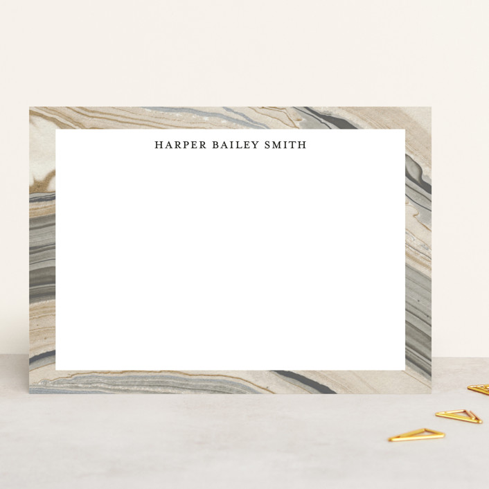 """""""Elegant Marble"""" - 5x7 Personalized Stationery in Sandstone by Liz Conley."""
