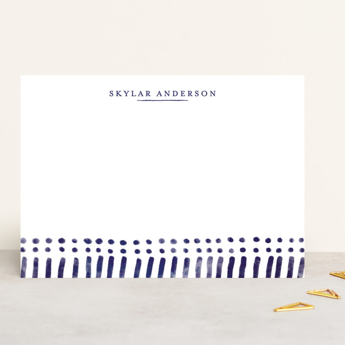 """Indigo Print"" - 5x7 Personalized Stationery in Navy by Melissa Egan of Pistols."