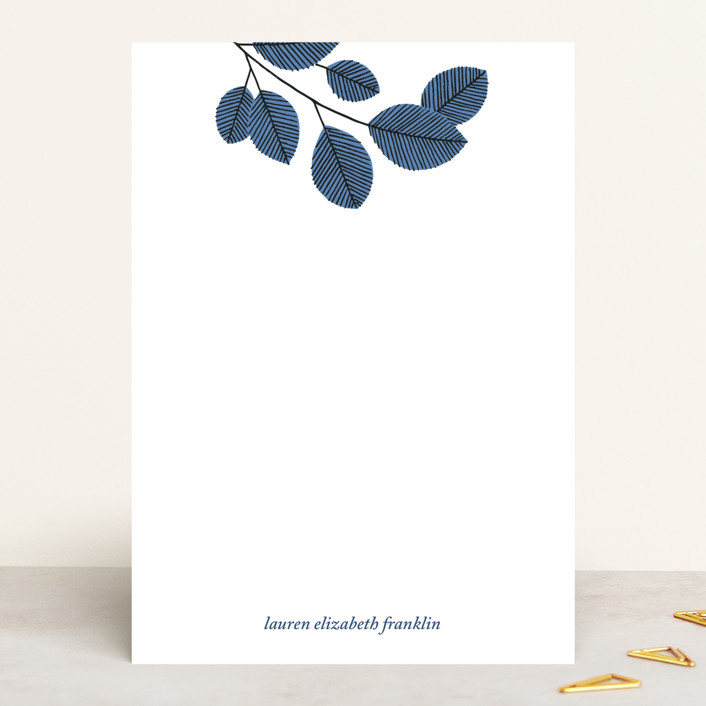 """""""Cool Branch"""" - 5x7 Personalized Stationery in Cornflower by Paper Raven Co.."""