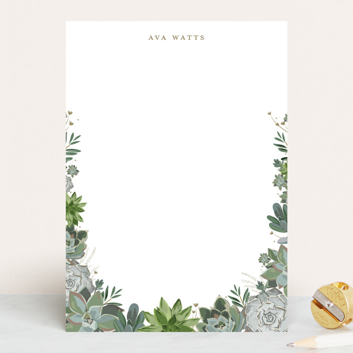 """""""Wild Succulents"""" - 5x7 Personalized Stationery in Powder by Susan Moyal."""
