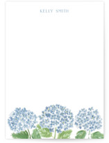 This is a blue personalized stationery thank you card by Lydia Carns called Hydrangea Love with standard printing on signature in 5x7.