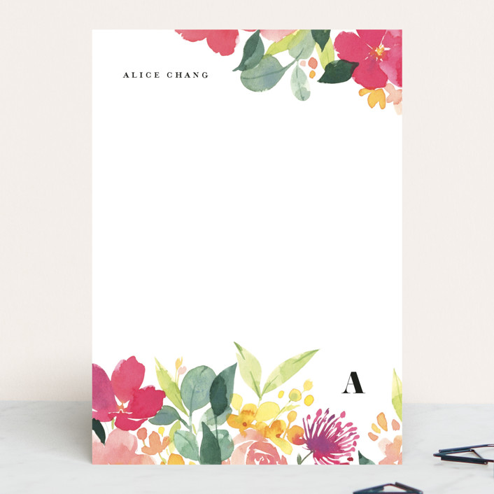 """""""Summer Blossoms"""" - 5x7 Personalized Stationery in Magenta by Shannon Chen."""