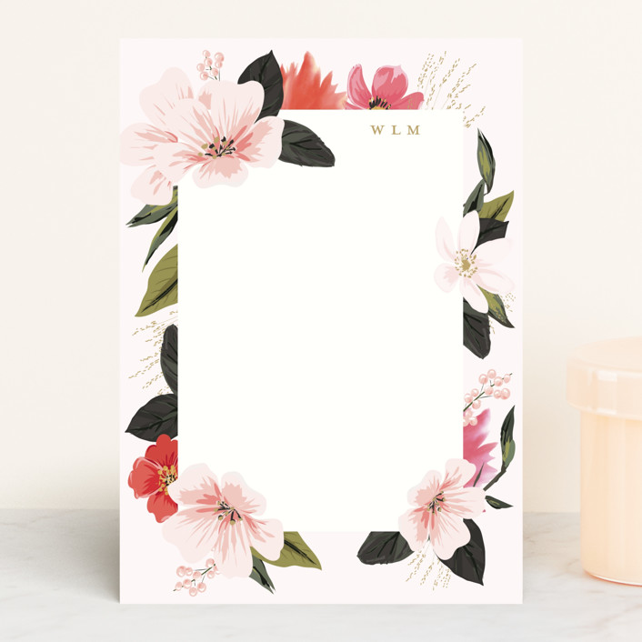 """Floral Note"" - 5x7 Personalized Stationery in Blush by Susan Moyal."
