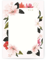 This is a pink personalized stationery thank you card by Susan Moyal called Floral Note with standard printing on signature in 5x7.