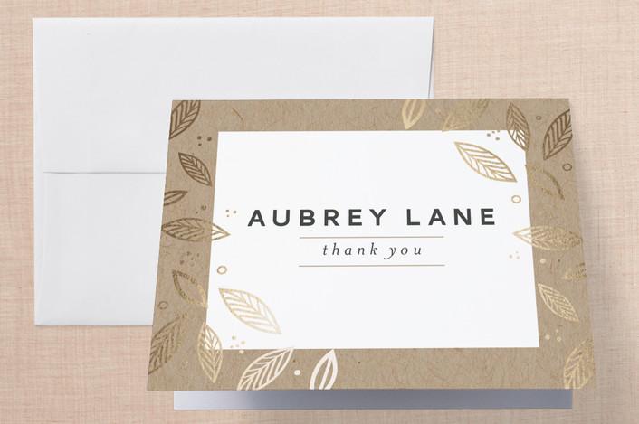 """""""Blush"""" - Floral & Botanical, Elegant Foil-pressed Bridal Shower Thank You Cards in Kraft by lena barakat."""