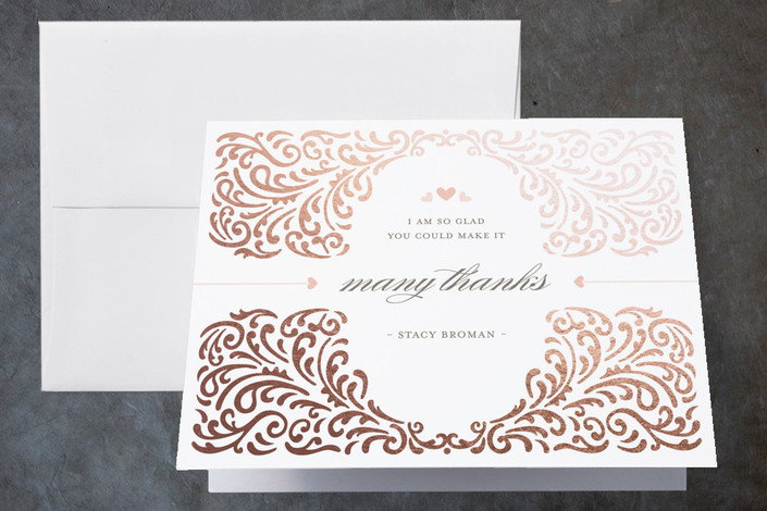 """Elegant Piping"" - Formal, Modern Foil-pressed Bridal Shower Thank You Cards in Rose Gold by Mandy Rider."