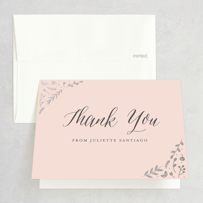 """""""Garden Romance"""" - Rustic Foil-pressed Bridal Shower Thank You Cards in Blush by carly reed walker."""