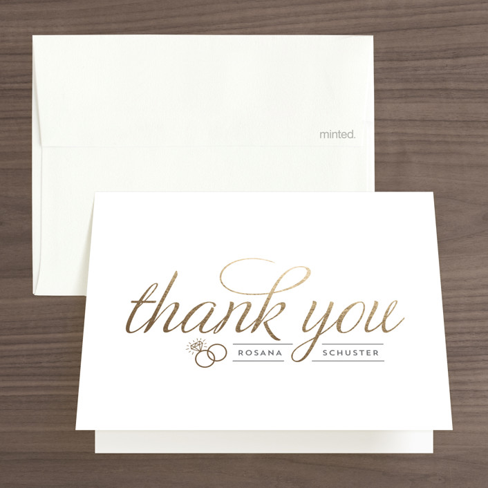 """Golden Bride"" - Bold typographic Foil-pressed Bridal Shower Thank You Cards in Gold by Beth Schneider."